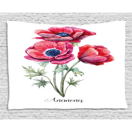 Navy Red Sage (Anemone Flower Tapestry, Watercolor Painting Style Bouquet of Anemone Vintage Garden, Wall Hanging for Bedroom Living Room Dorm Decor, 60W X 40L Inches, Sage Green Red Navy Blue, by)