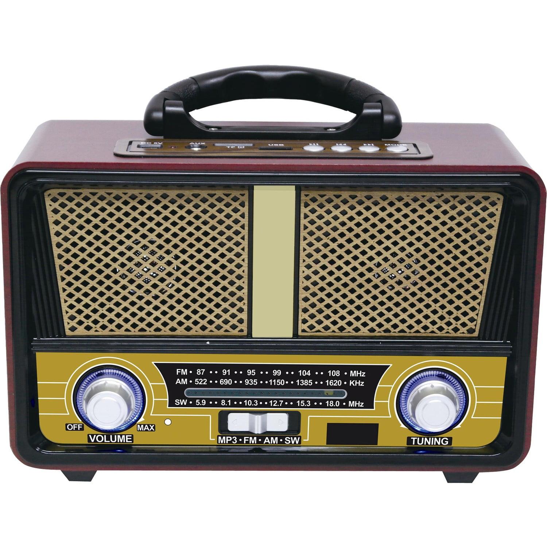 Qfx Retro 90 Vintage Style Portable Radio Walmart Com