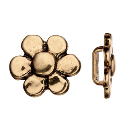 Flat Cord Slider Beads, Antique Copper-Plated, Flower Slider Beads