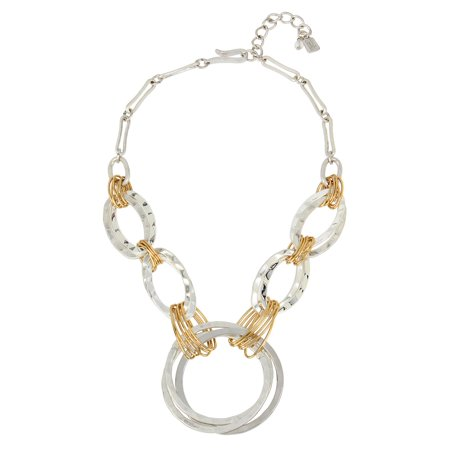 Two-Tone Wire Wrapped Circle Necklace (Kenneth Jay Lane Circle Necklace)