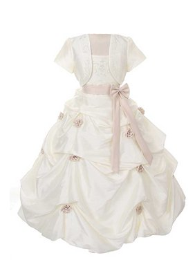 Product Image Rain Kids Girls 4 Ivory Khaki Flower Pickup Pageant Flower Girl  Dress ea84dcbdc