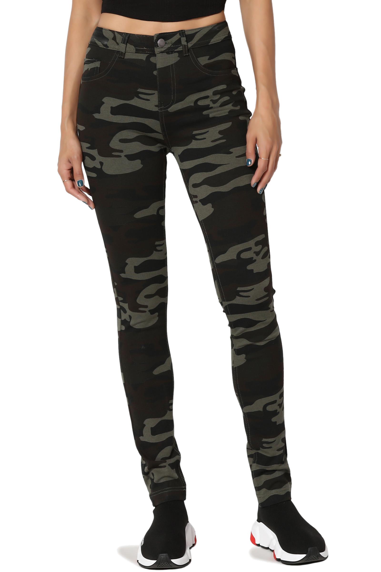TheMogan Junior's Camo Military Print Stretch Ponte Knit High Waist Skinny Pants