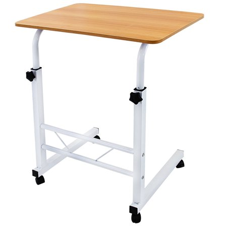 DL furniture - Adjustable Height Laptop Desktop Table Stand, Over Bed Side Table With Wheels | Metal Frame & Natural Surface