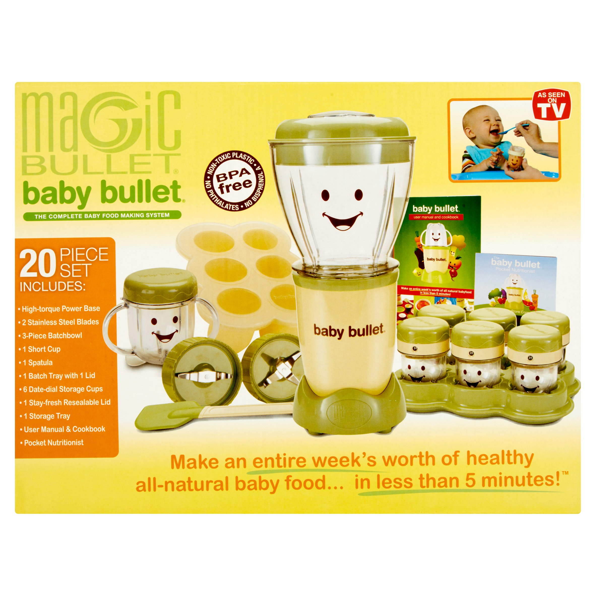 Click here to buy As Seen on TV Baby Bullet Baby Food Maker, BPA-Free, 20-Piece Set by Magic Bullet.