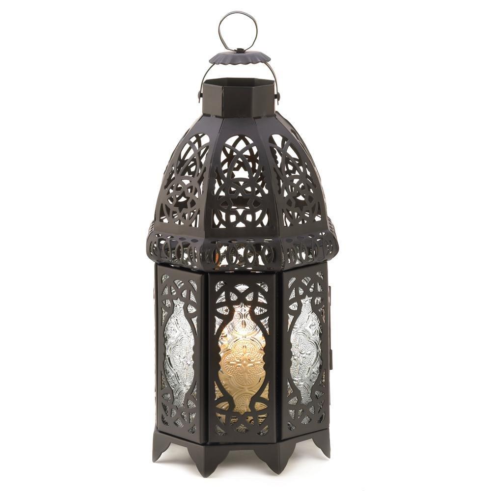 Outdoor Lanterns, Black Lattice Hanging Metal Decorative Floor Outdoor Lantern