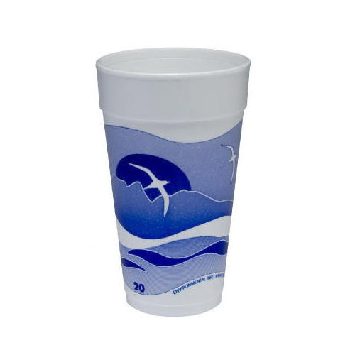 DART 20 Oz Printed Horizon Foam Hot / Cold Cup 25 / Bag in Blueberry / White