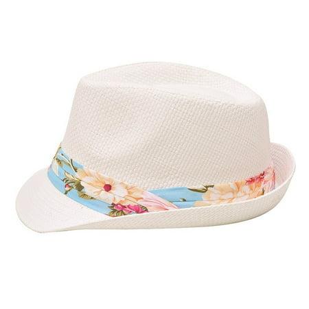 Sophias Style Unisex Junior Adult Blue Grosgrain Ribbon Fedora Summer Hat](Kid Fedora)