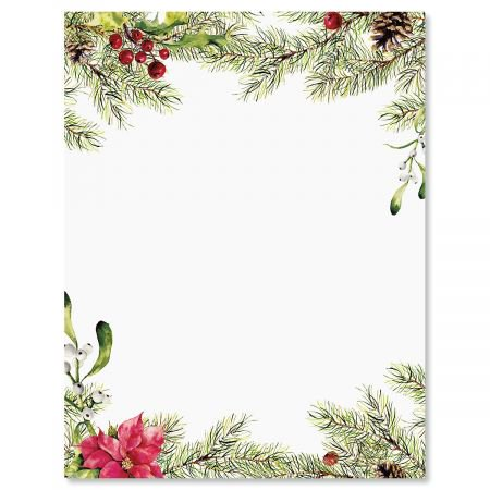 Pine Berries Christmas Letter Papers - Set of 25 Christmas stationery papers are 8 1/2