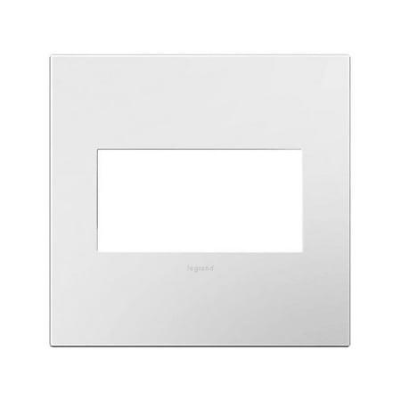 Legrand AWP2GWHW10 Gloss White on White Adorne Plastic 2 Gang Wall Plate ()