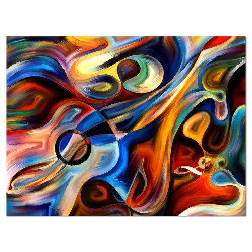 Design Art Abstract Music and Rhythm Graphic Art on Wrapped Canvas