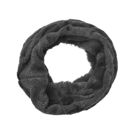 Women's Winter Knit Fuzzy Neck Warmer / Infinity Scarf, Only Scarf 4 (Fuzzy Chenille Bohemian Scarf)