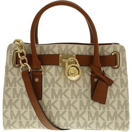 Michael Kors Women S Medium Hamilton Logo Leather Shoulder Bag Satchel Vanilla
