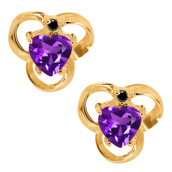 0.81 Ct Heart Shape Purple Amethyst and Diamond 14k Yellow Gold Earrings