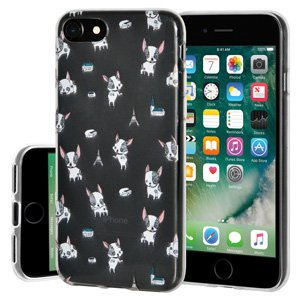 iPhone 7 Case, Soft Gel Clear TPU Back Case Impact Defender Skin Cover for iPhone 7 - Modern Puppy Print