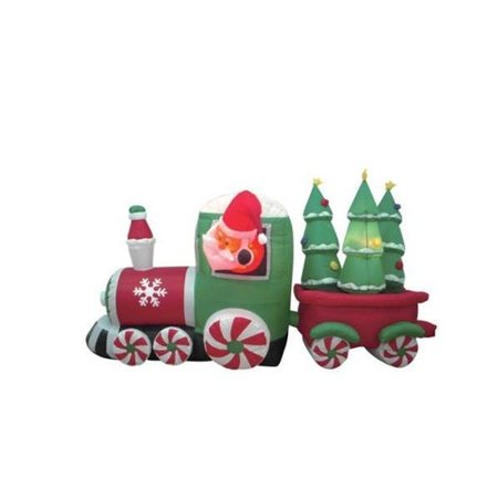 Bzb goods christmas inflatable santa claus driving train for Outdoor christmas train decoration