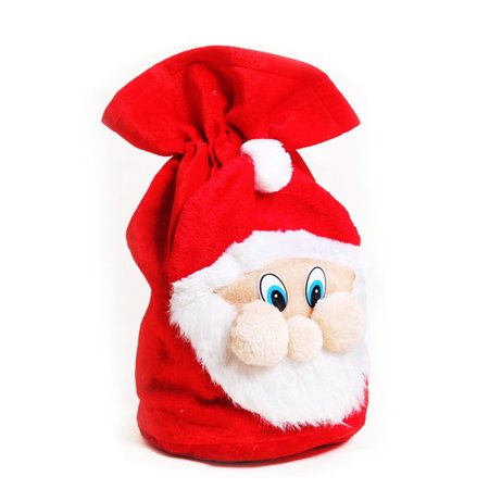 Big Size Xmas Santa Pattern Gift Sack,EECOO Plush Fabric Treat Candy Bag Pouch Wrap with Drawstring for Christmas Gifts (Christmas Treats For School)