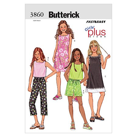 Butterick Pattern Girls' and Girls' Plus Top, Dress, Shorts and Pants, (8- 1/2, 10-1/2, 12-1/2, 14-1/2, 16-1/2) (Morticia Dress Pattern)