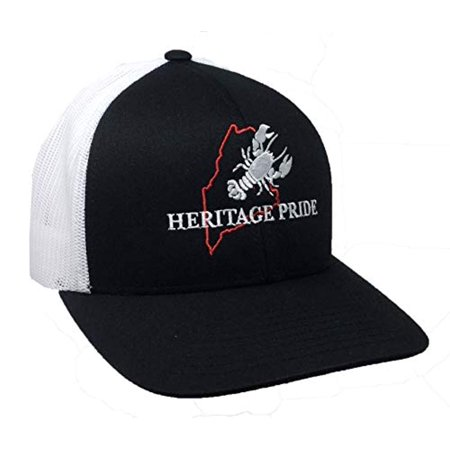Trenz Shirt Company Heritage Pride Maine Lobster State Pride Trucker Mesh Hat - Black, White Mesh (Lobster Hat)