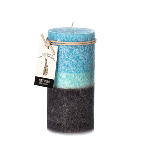 Dynamic Collections Blue Mood Scented Layered Candles: 3 x 6 inches - Blue Candle