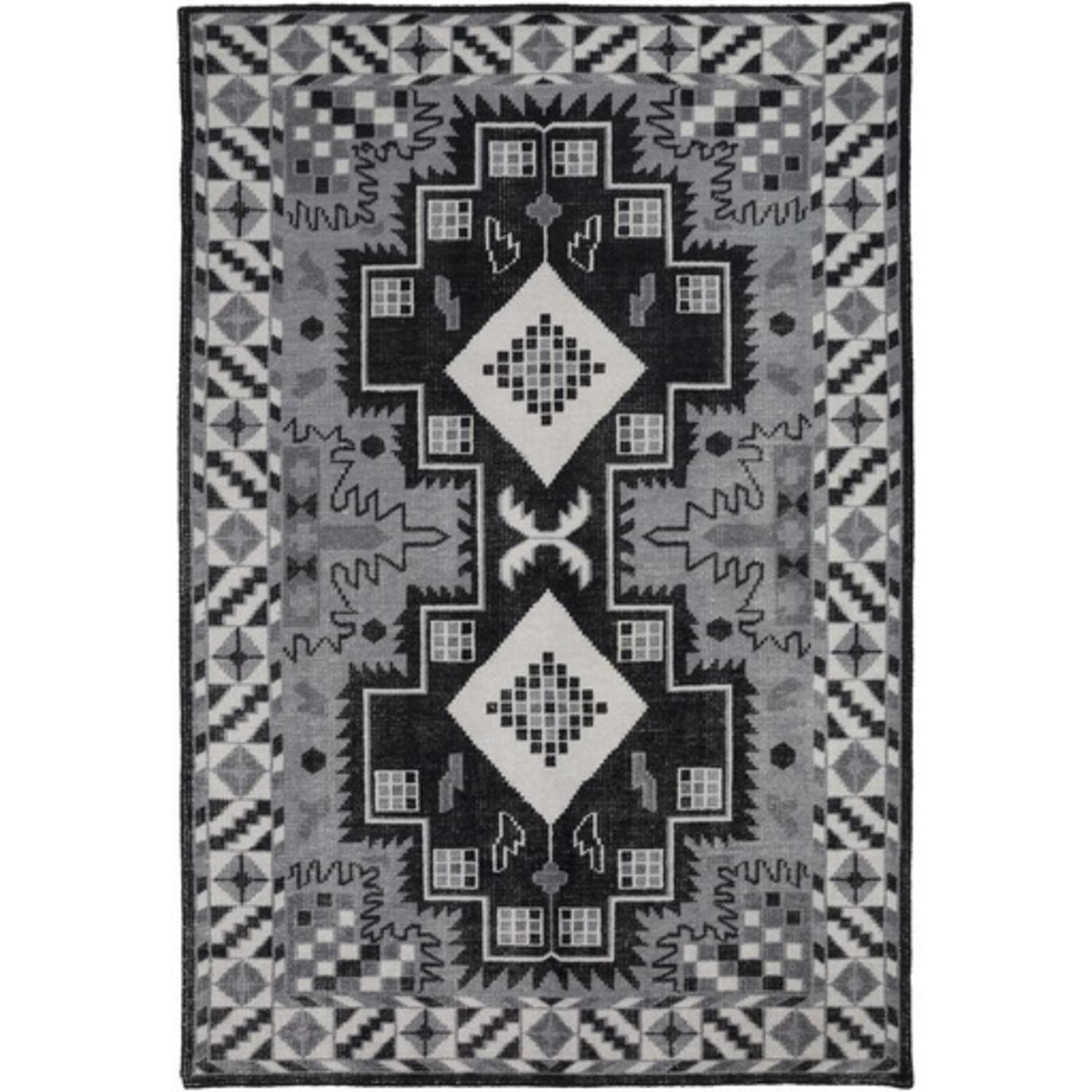 8' x 11' Turkish Symmetry Black and White Hand Knotted Area Throw Rug