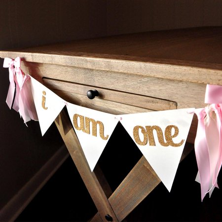 High Chair Banner (I Am One Banner. Ships in 1-3 Business Days. First Birthday Banner. I Am One High Chair Banner. Pink and Gold Bunting)
