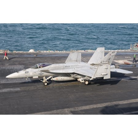 An Fa 18E Super Hornet On The Flight Deck Of Uss George Hw Bush Canvas Art   Giovanni Collastocktrek Images  35 X 23