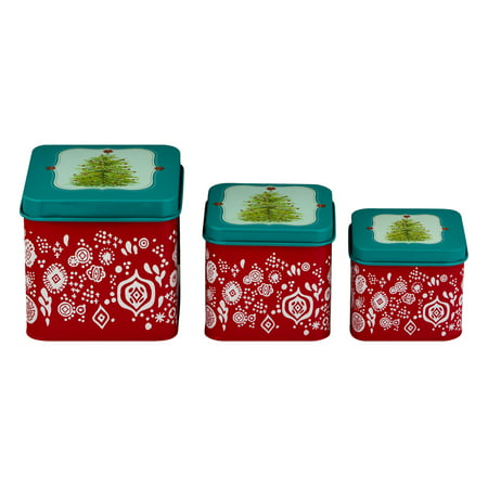 Christmas Gift Boxes For Cookies (The Pioneer Woman Merry Christmas Square 3-piece Cookie Food Storage)