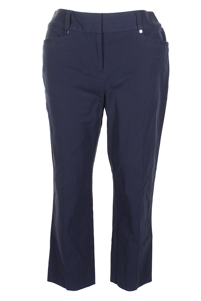 Alfani Navy Blue Creased Minnie Pocket Cropped Skinny Pants  8