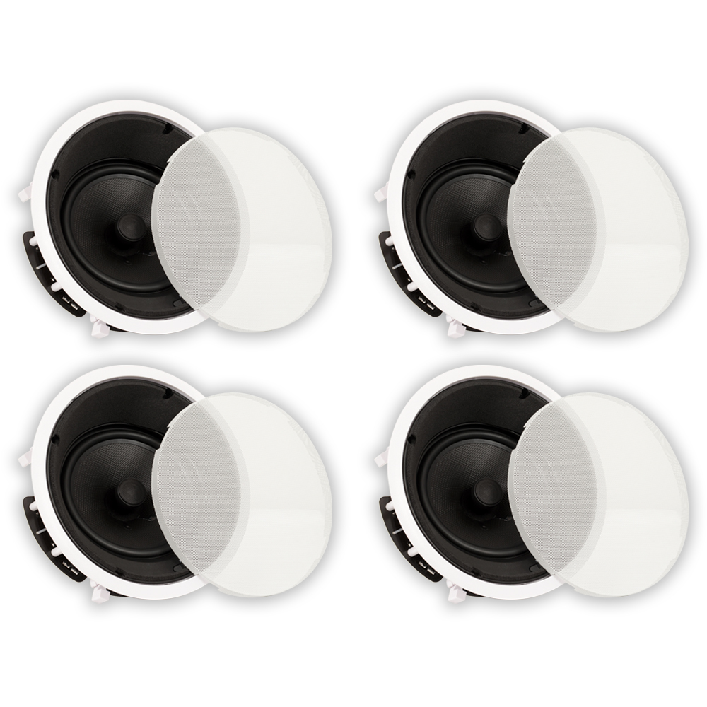 """Theater Solutions TS80A In Ceiling 8"""" Kevlar Angled 4 Speaker Set Home 1200 Watts 4TS80A"""