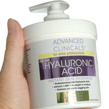 Advanced Clinicals Anti-aging Hyaluronic Acid Cream for face, body, hands. Instant hydration for skin, spa