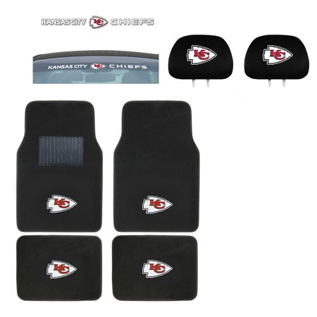 - Kansas City Chiefs 4 Pc Carpet Floor Mats And Head Rest Cover With Windshield Decal