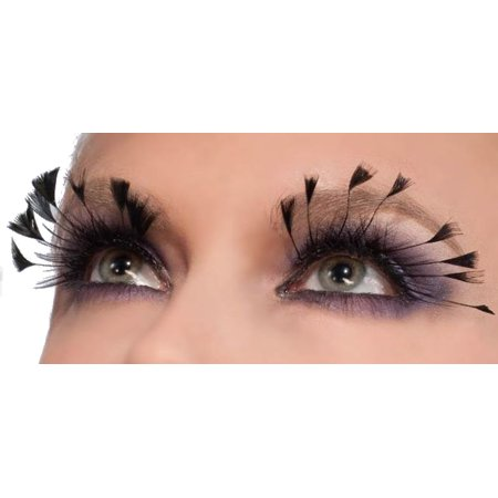 Women's  Black Fairy Costume Eyelashes With Small Feather Tips - Black Feather Costume