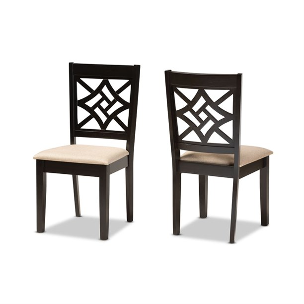 Baxton Studio Nicolette Modern And Contemporary Sand Fabric Upholstered And Dark Brown Finished Wood 2 Piece Dining Chair Set Walmart Com Walmart Com