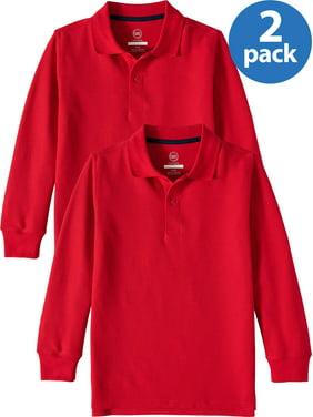 Wonder Nation Boys 4-18 School Uniform Long Sleeve Double Pique Polo Shirt, 2 Pack Value Bundle