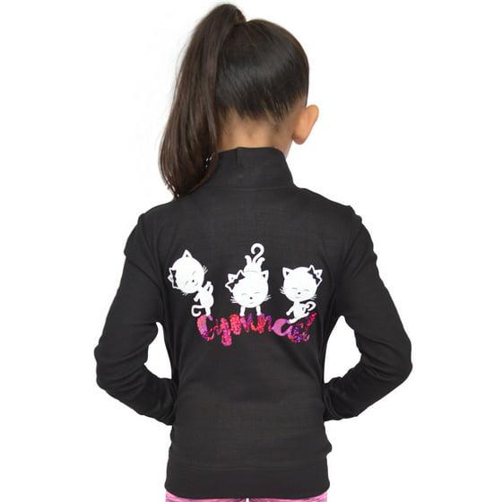 Girl's Glitter Cool Cats Gymnastics Hologram Print Warmup Jacket - Small  (6) / Black Gold