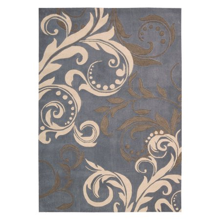 Nourison Contour Modern Paisley Polyester Rug, Silver ()