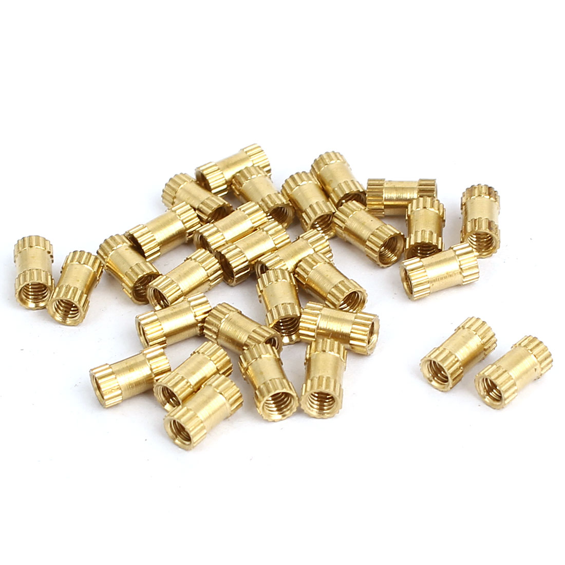 M2.5x6mmx3.5mm Female Thread Brass Knurled Insert Embedded Nuts Gold Tone 30pcs