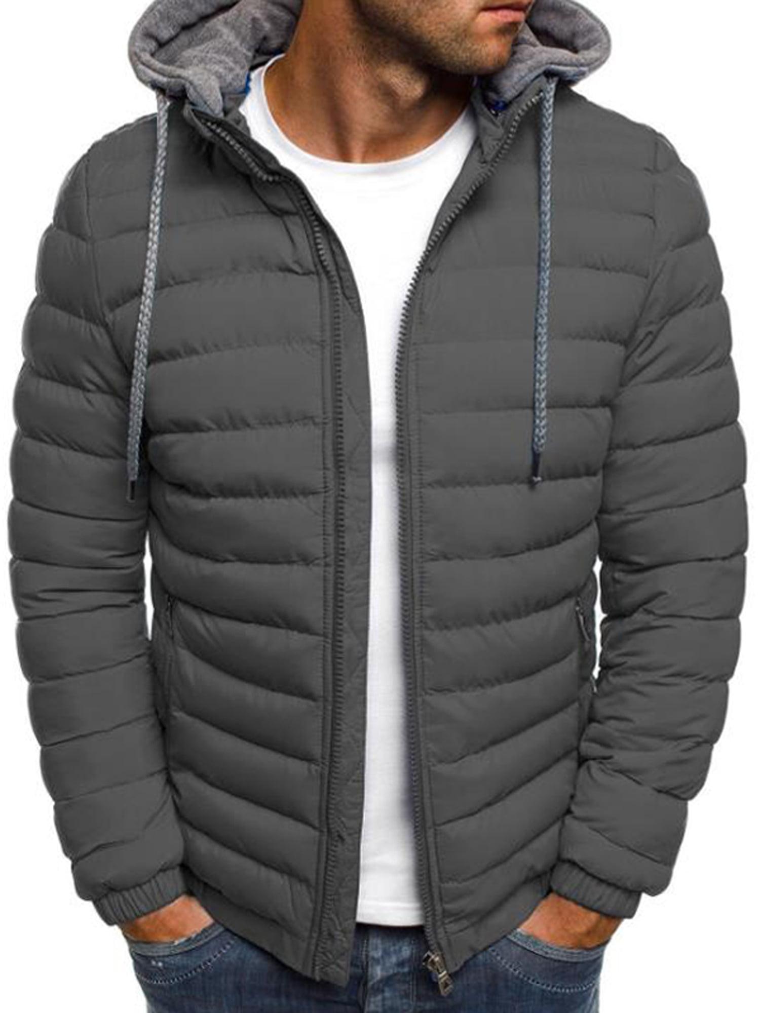 Men Winter Warm Parka Fur Hooded Padded Coat Jacket Zipper Casual PufferOutwear