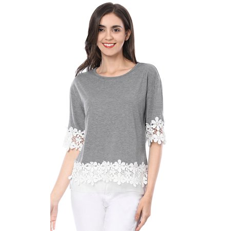 Women Elbow Sleeve Drop Shoulder Lace Trim T-Shirt Blouse Tops Gray S (US 6)