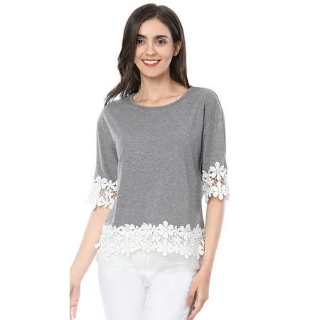 Lame Elbow - Women Elbow Sleeve Drop Shoulder Lace Trim T-Shirt Blouse Tops Gray S (US 6)
