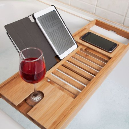Bath Tub Replacement Shower - Asewin Wood Luxury Bamboo Bathtub Caddy Tray Bath Rack Shower Table Wine Glass Holder Cellphone Slot