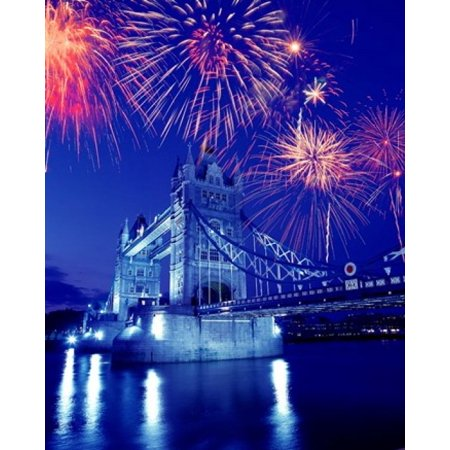 Fireworks over the Tower Bridge London Great Britain UK Poster Print by Jaynes Gallery