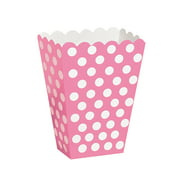 Hot Pink Polka Dot Treat Favor Boxes, 5 x 3.5in, 8ct