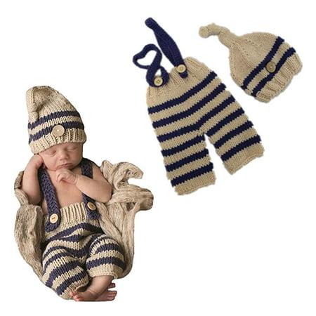 9d78f24d6 Newborn Baby Girl Boys Bib Pants+Hat Crochet Knit Photo Photography 2pcs  Outfit