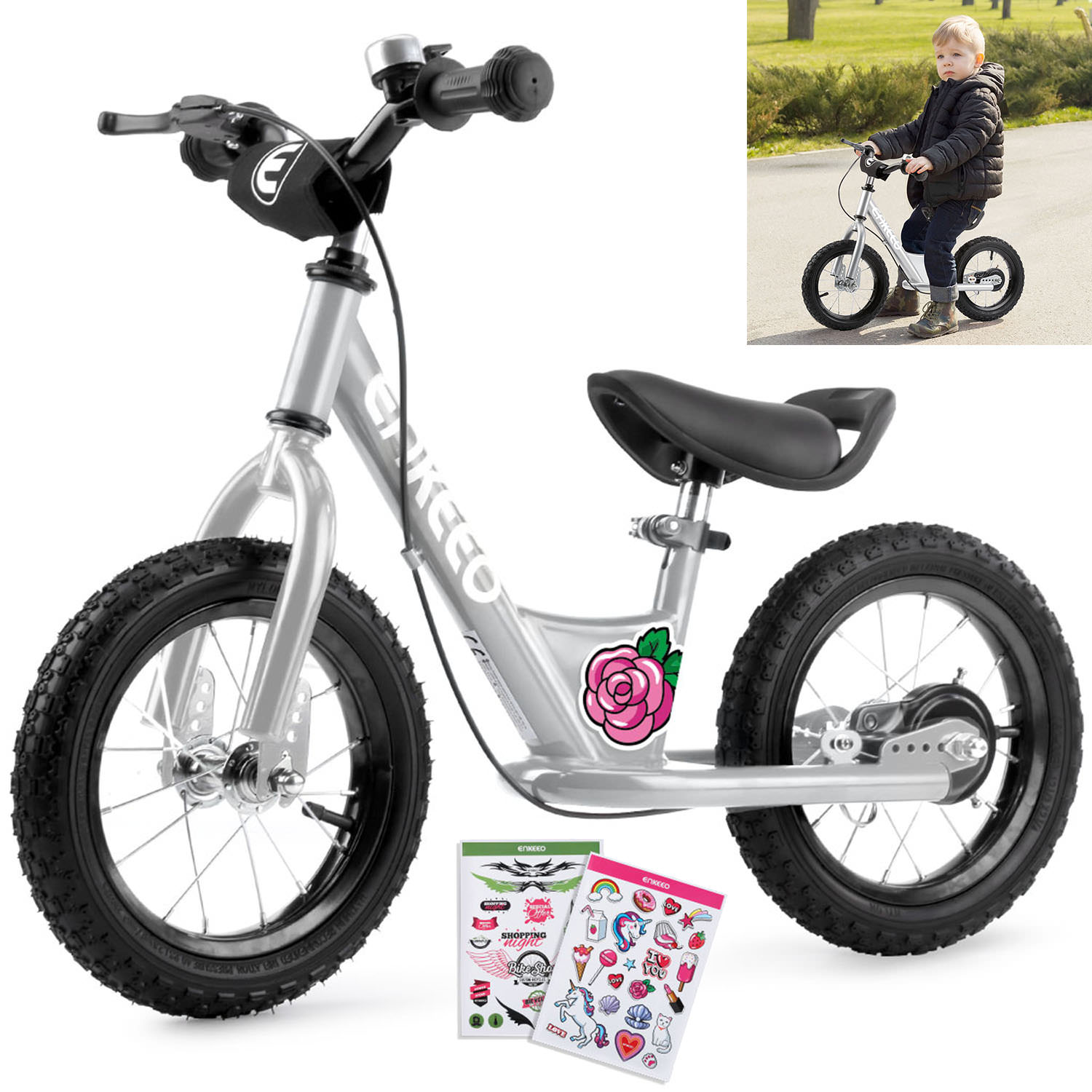 "ENKEEO 12"" Sport Balance Bike No Pedal Walking Bicycle with Carbon Steel Frame, Adjustable Handlebar and Seat, 110lbs Capacity for Kids Toddlers Ages 2 to 6 Years Old"