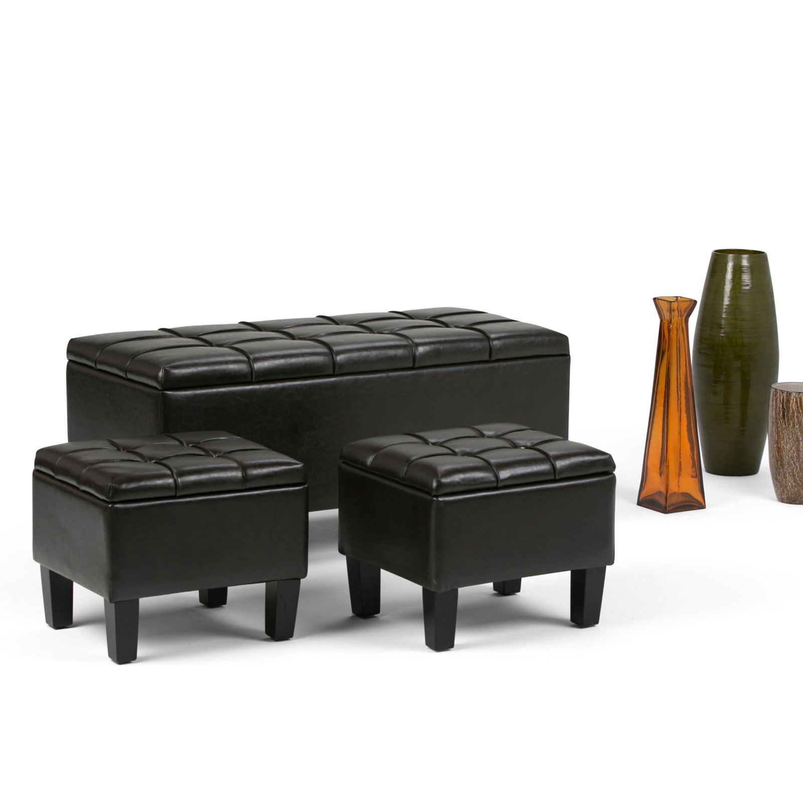 Simpli Home Dover 3 Piece Storage Ottoman Bench