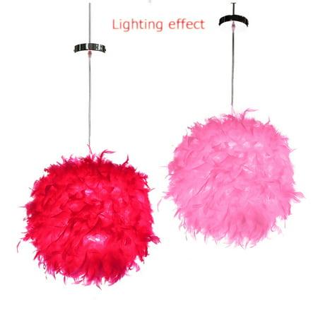 220V Luxury White Feather Ball Ceiling - Modern Romantic Pendant Light Droplight Chandelier - Home Bedroom Living Room Corridor Coffee Decor - Christmas gift