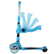 3 in 1 Kids Children Scooter 2 Wheel Kick Scooter with Adjustable Height Removable & Adjustable Seat, T-Handlebar and LED Light Up Wheel for Children Boys Girls 2-6Years Old