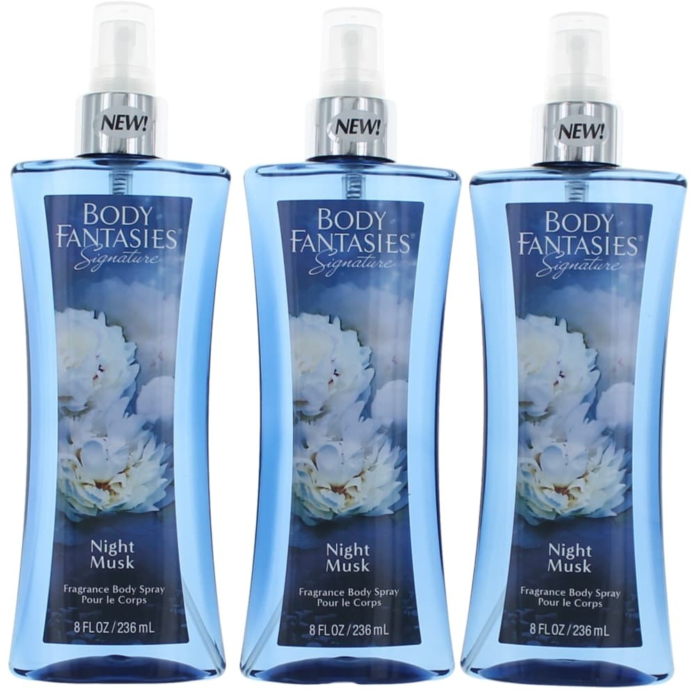 Night Musk by Body Fantasies, 3 Pack 8 oz Fragrance Body Spray women