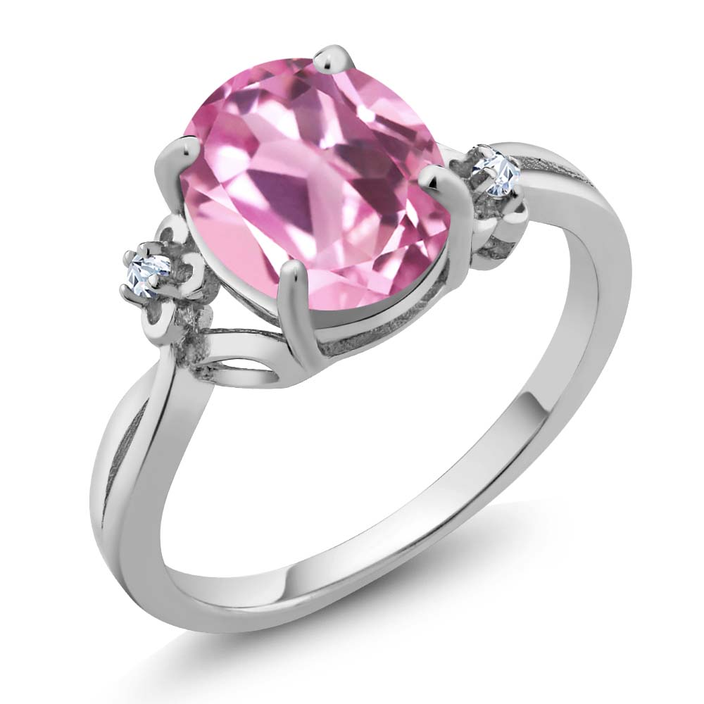 2.94 Ct Oval Light Pink Created Sapphire Sterling Silver Ring
